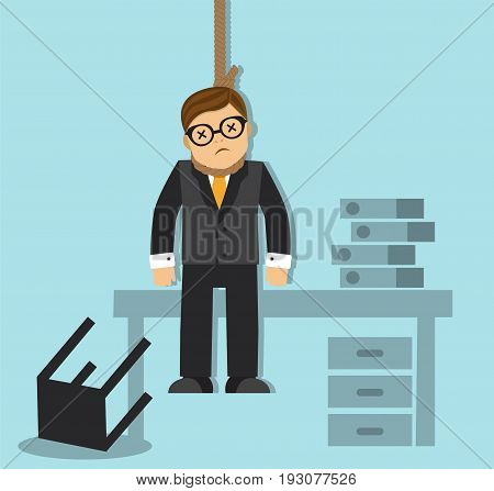 Businessman is tired of failing and hanging himself in the office