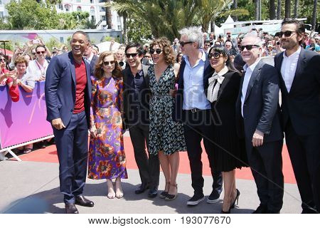 Salma Hayek, Valeria Golino, Alfonso Cuaron, Thierry Fremaux attends the 70th Anniversary photocall during the 70th Cannes Film Festival at Palais des Festivals on May 23, 2017 in Cannes, France.