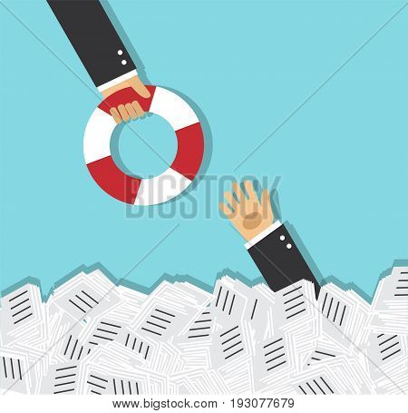 The hand of a man sticks out of a pile of papers. Another person is stretching a lifeline and wants to help