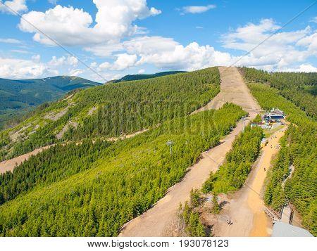 Hilly and forest landscape near Dolni Morava in Jeseniky Mountains, Czech Republic.