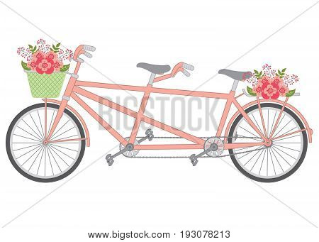 Vector tandem with pastel flowers. Tandem with floral basket vector illustration.