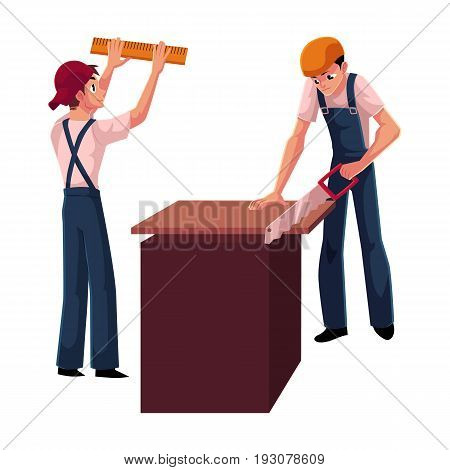 Two construction workers, builders - one measuring wall with ruler, another sawing wood, cartoon vector illustration isolated on white background. Builders, workers, constructors, sawing and measuring