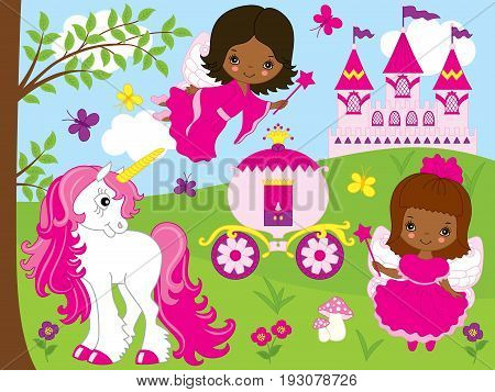 Vector cute African American fairies with unicorn, carriage and castle. Unicorn and fairies  vector illustration.