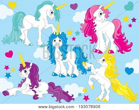 Vector set of cute unicorns with colorful mane in blue background.. Set includes rainbow, heart elements, stars, clouds and flowers. Unicorn clipart.  Unicorn vector illustration.