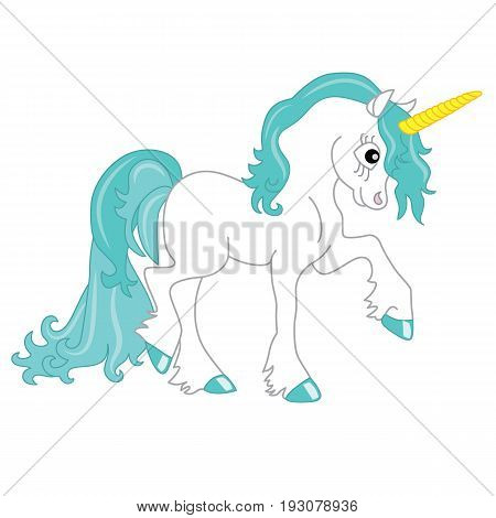 Vector cute unicorn with turquoise mane. Unicorn clipart. Unicorn vector illustration.