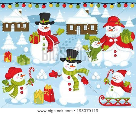 Vector happy snowman family on snow background. Snowman set with gift boxes, candy sticks, sledge, houses, lights, trees and sledge. Christmas and New Year vector illustration.