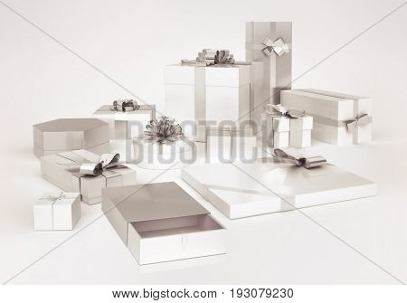 White gifts boxes with silver bows isolated on white background. Open gift box with silver bow. 3D illustration