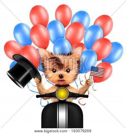 Funny dog holding USA flags, sitting on scooter and surrounded by balloons. Concept of 4th of July and Independence Day, Realistic 3D illustration.