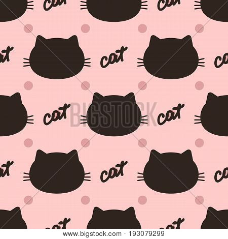 Handwritten text Cat and head silhouette on a background with polka dots. Seamless pattern. Brown pink color. Vector illustration.