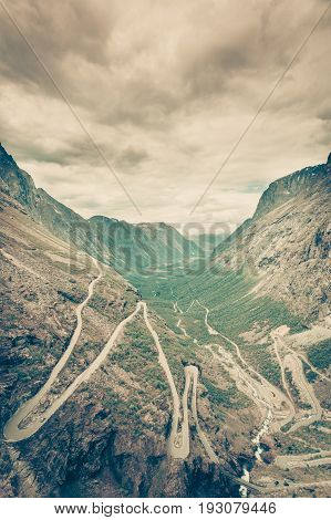 Trolls Path Trollstigen Mountain Road In Norway