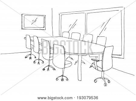 Conference room in a sketch style. Hand drawn office desk office chair. Vector illustration.