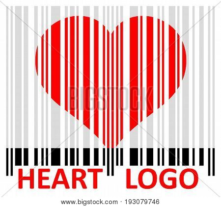 Logo stylized heart with a bar code.