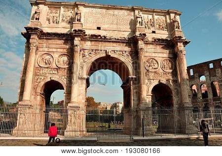 Rome Italy,November 7th 2010.The arch of Constantine is dedicated to the emperor who legalized Christianity.