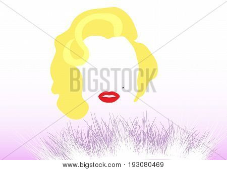 A vector illustration of a portrait of Marilyn Monroe. Cartoon portrait isolated vector editorial. Monroe superstar idol actress singer sexy woman.