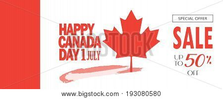Sale banner for Happy Canada Day! Gift card, voucher, poster, placard, with maple leaf logo, red color of the Canadian flag, lettering, firework. Sales Canada day banner, Holiday, celebration, vector illustration template. Sale special offer card, Marketi