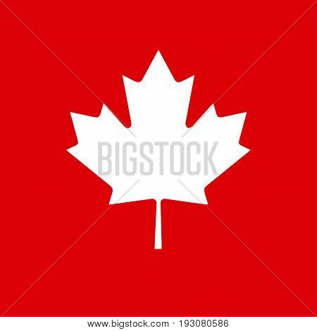 Maple leaf Canada logo, Canadian flag symbol, red color, isolated, red background. Maple leaf Icon Vector illustration for Happy Canada Day! greeting card, poster, banner. Minimal design poster.