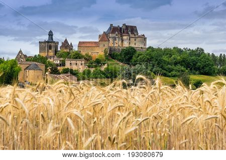 the hill top village of Biron in the Dordogne south west France