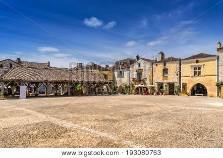 The hill top village of Monpazier in the Dordogne south west France