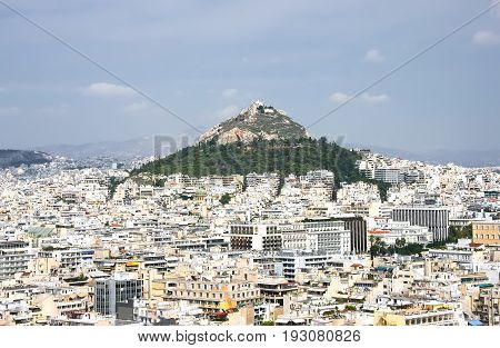 Hill Likavit (Likavitos) or Wolf Mountain in the center of Athens. Greece
