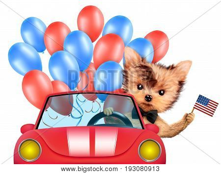 Funny dog holding USA flags, sitting on car and surrounded by balloons. Concept of 4th of July and Independence Day, Realistic 3D illustration.