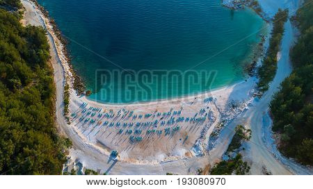 Aerial view of Porto Vathy Marble Beach in Thassos Island Greece