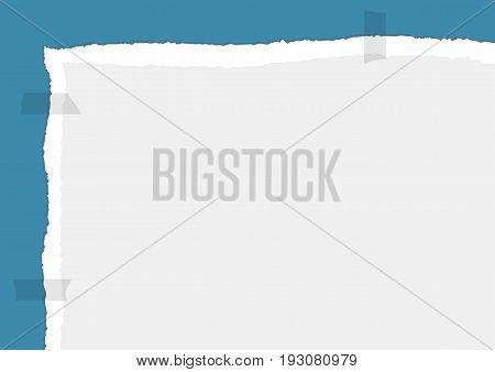 Rectangular background with a fragment of a ragged sheet. Adhered with adhesive tape. Torn edges of paper. Template for notes. Vector illustration.