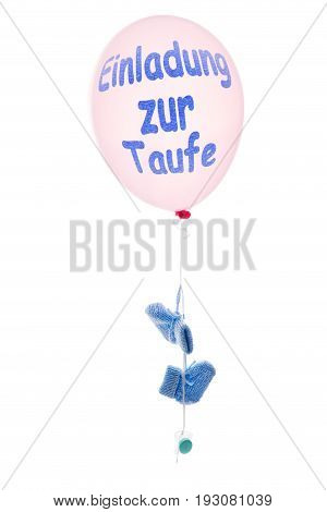 Pink Balloon With Little Blue Baby Shoes, Concept Baptism Or Christening