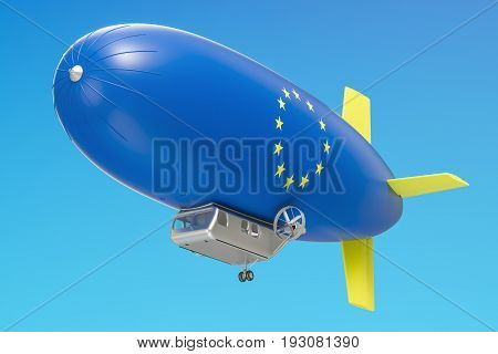 Airship or dirigible balloon with EU flag 3D rendering isolated on white background