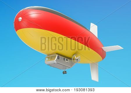 Airship or dirigible balloon with German flag 3D rendering isolated on white background