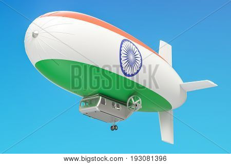 Airship or dirigible balloon with Indian flag 3D rendering isolated on white background