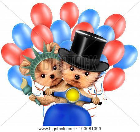 Funny dogs holding USA flags, sitting on scooter and surrounded by balloons. Concept of 4th of July and Independence Day, Realistic 3D illustration.