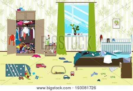 Messy room where young family with little baby lives. Untidy room. Cartoon mess in the roomUncollected toys things. Cleaning illustration. Vector