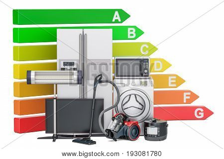 Energy efficiency chart with household appliances. Saving energy consumption concept 3D rendering isolated on white background
