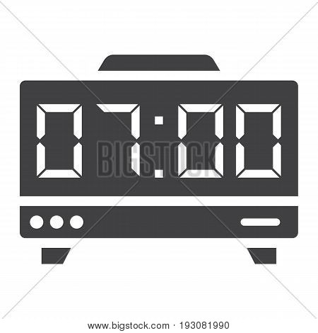 Digital clock solid icon, electronic and alarm, vector graphics, a glyph pattern on a white background, eps 10.