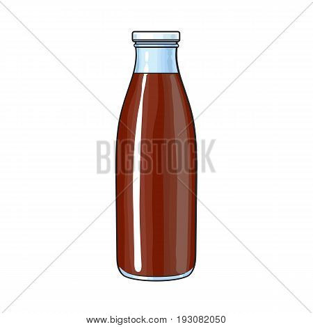 Side view drawing of bottle with chocolate milk, cocoa, sketch vector illustration isolated on white background. Hand drawn closed bottle of chocolate milk