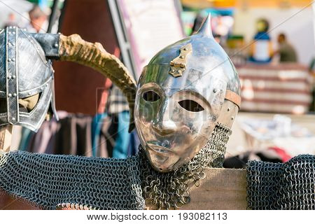 Medieval knight ammunition made from metal and skin
