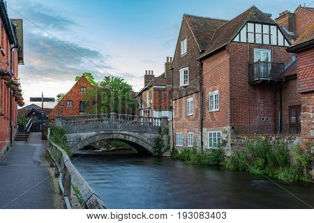 Bridge Street bridge over the River Itchen in the oldest part of Winchester