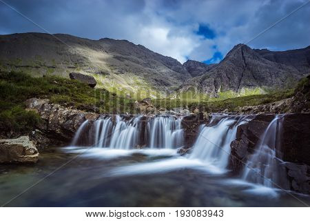 Fairy Pools Waterfalls On Cloudy Day