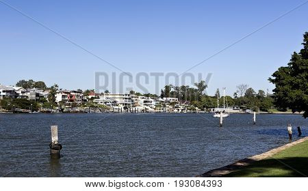 BRISBANE, AUSTRALIA - June 22, 2017: View of the riverside suburb of Norman Park in the Eastern side of Brisbane Queensland Australia