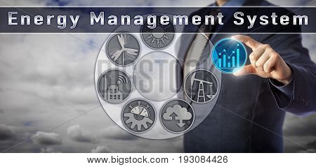Blue chip electric utility operator is monitoring real-time data via an Energy Management System interface. Industry and technology concept for process optimization via cloud-based power management.