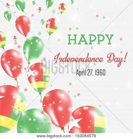 Togo Independence Day Greeting Card. Flying Balloons In Togo National Colors. Happy Independence Day