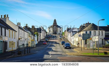 Bowmore, United Kingdom - 25 August 2013: Bowmore Town Street