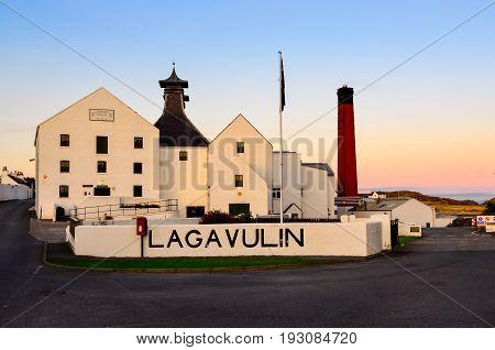 Islay, United Kingdom - 25 August 2013: Lagavulin Distillery Factory