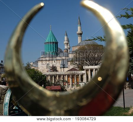 Mevlana museum and mosque in metal crescent in Konya, Turkey