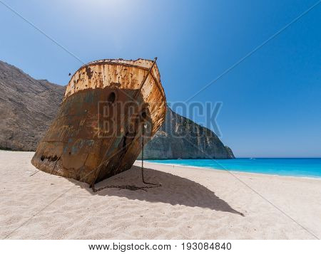 The famous Shipwreck beach Zakynthos Greece