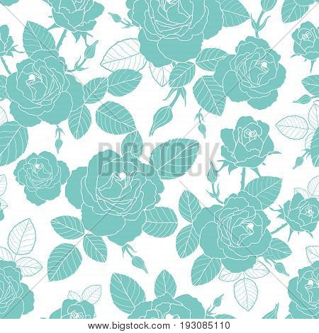 Vector vintage light blue and white roses and leaves seamless repeat pattern. Great for retro fabric, wallpaper, scrapbooking projects. Surface pattern design.