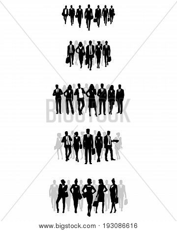 Vector illustration of a five business teams set