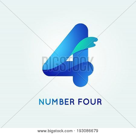 Number four in trend shape style. 4 digit vector icon.