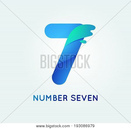 Number seven in trend shape style. 7 digit vector icon.