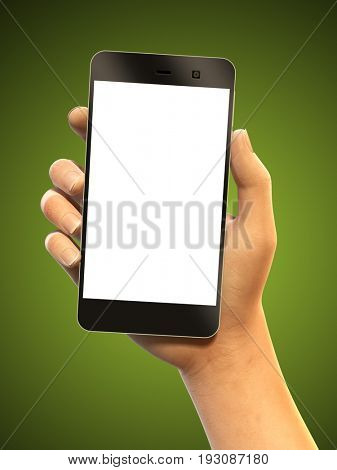 Hand holding a smartphone. Copyspace available to insert text and graphics. 3D illustration, clipping path included to remove background.